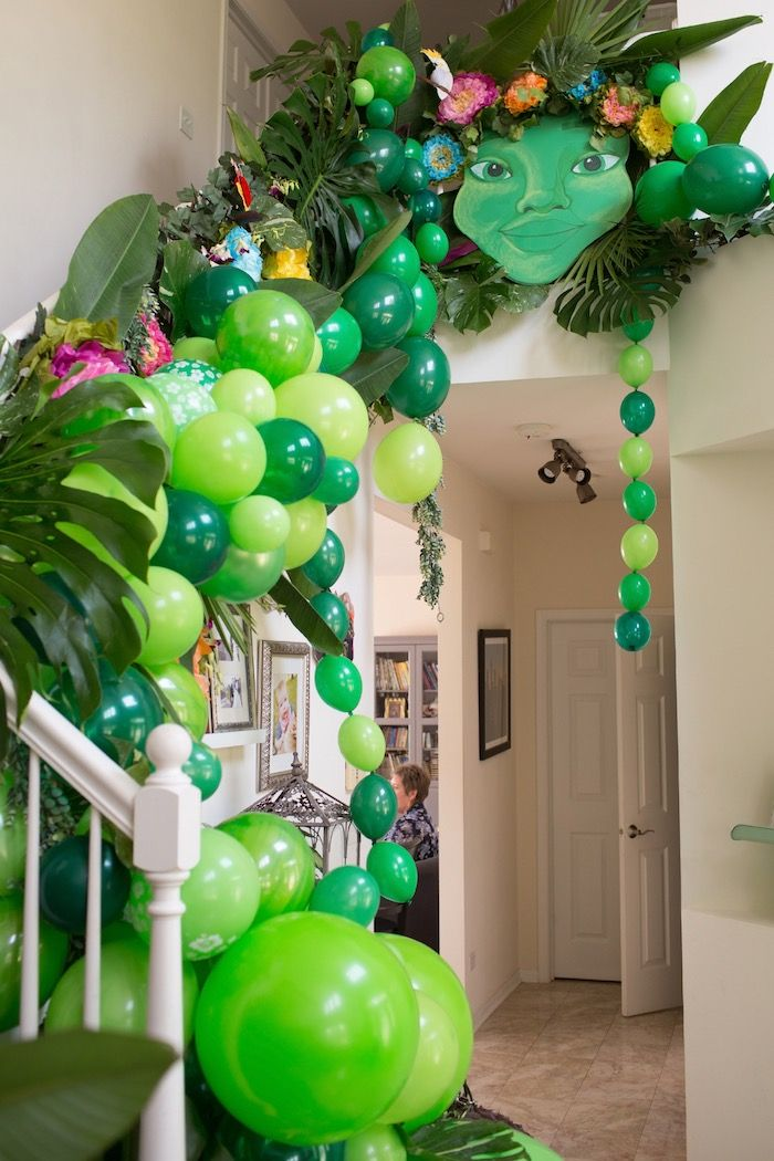 Te Fiti Balloon Staircase From A Moana Inspired Birthday Luau On Karas Party Ideas