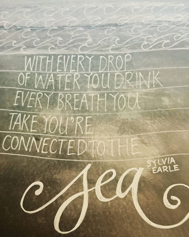 Sea quote handwritten over a photograph of the beach near the Humberston Fitties looking towards the fort.   #365photochallenge #28daysofcalligraphy #calligraphy #humberstonfitties #beach #sea #seaside #quotes #water #handlettering #illustratedphoto
