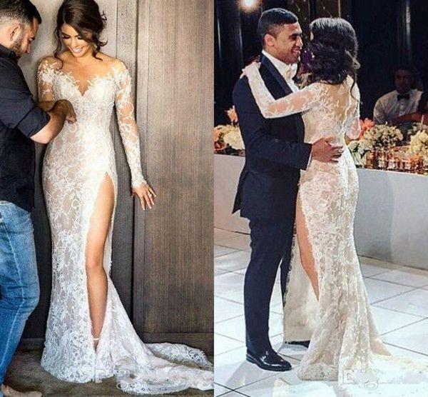 2016 New Vintage Steven Khalil Full Lace Split Mermaid Wedding Dresses with Long Sleeve Illusion Back Arabic Trumpet Wedding Gowns
