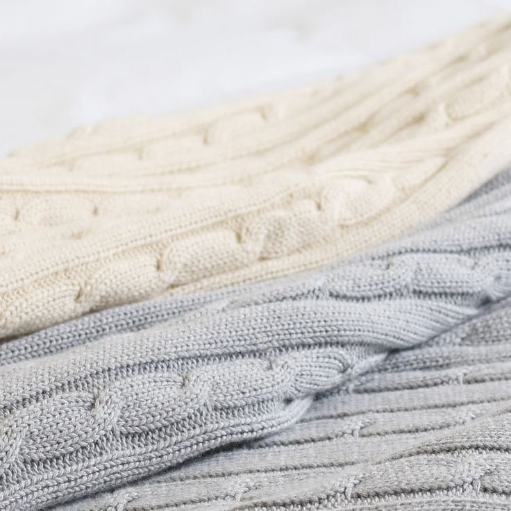 Pure Cotton Cable Knit Throw - Grey Marl