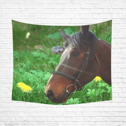 """Horse and Grass Cotton Linen Wall Tapestry 60""""x 51"""""""
