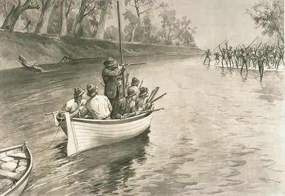 "An illustration of the explorer Charles Sturt's party being ""threatened by blacks (sic) at the junction of the Murray and Darling, 1830"", near Wentworth, New South Wales."