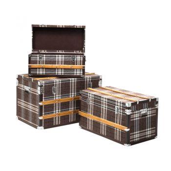 Design opbergdozen Highlands heeft een ruitpatroon. Met decoratieve strips gemaakt van grenen voor een rustieke maar zeer elegante touch.