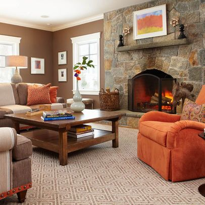 Orange decor brown living room love the brown and cream for Living room ideas orange
