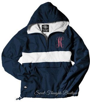 Monogrammed Rain Jacket Pullover by SweetThoughtBoutique on Etsy