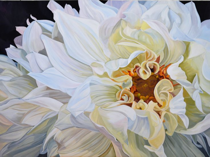 SOLD Giant White Dahlias Original painting by Jenny Fusca 120 x 90cm Acylics on canvas with oil glaze