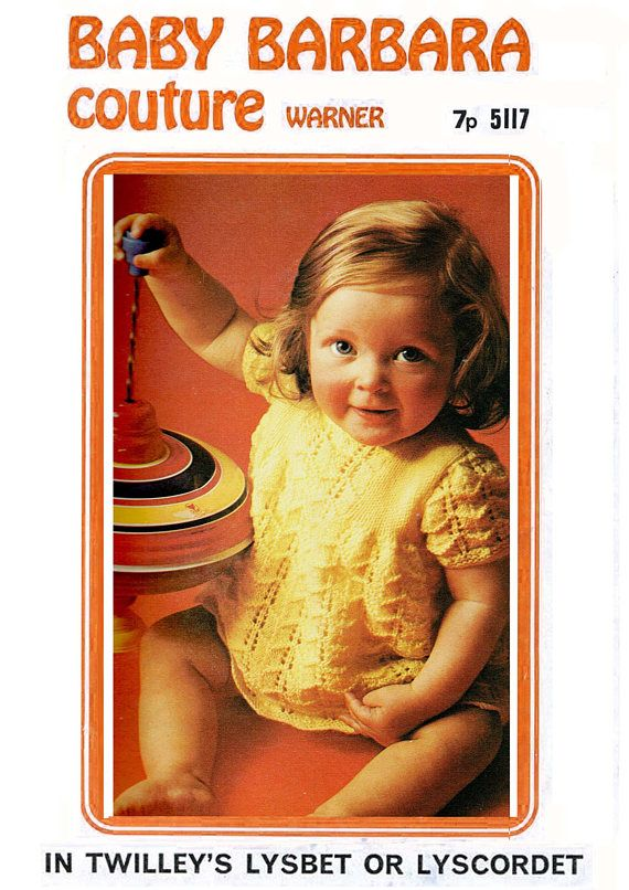 PDF Vintage Baby Girl Knitting Pattern Summer Dress YELLOW