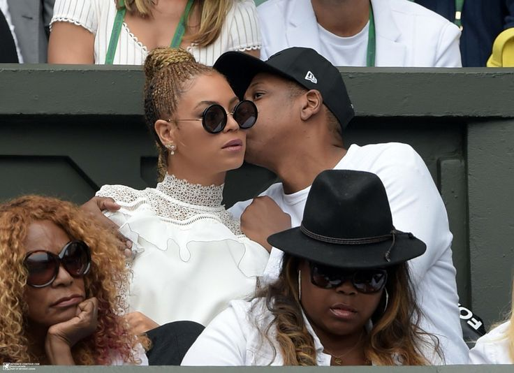 Beyoncé & Jay Z watch on as Serena Williams of The United States and Angelique Kerber of Germany play in the Ladies Singles Final match on day twelve of the Wimbledon Lawn Tennis Championships at the All England Lawn Tennis and Croquet Club on July 9, 2016 in London, England.