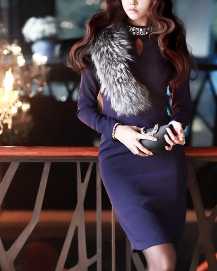 Jewel detail hole cut out neck purple slim dress Formal Party black dresses S/M #nobrand #Slimdress #Formal