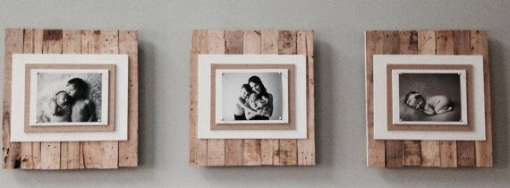 Recycled Pallet Picture Frames. Frames shown are holding an 8 x 10 photo. One frame for $75.00 or 3 frames for $200.00 Shipping costs are estimates only. DISCLAIMER: All products are carefully hand-made from hand selected materials. Each item will vary somewhat in color and grain. No