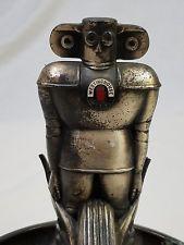 Rare Westinghouse Air Brake Robot Advertising Figure Metal Display Ashtray 1930s