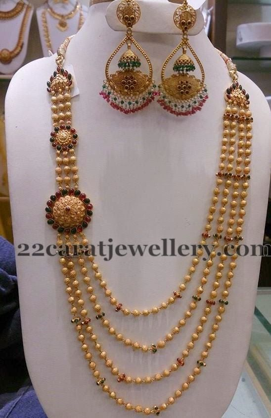 Jewellery Designs: Gold Haram with Chandbalis