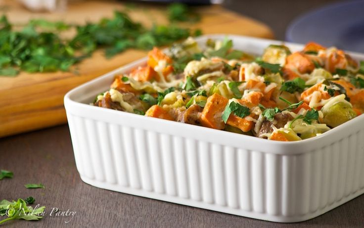 Sweet Potato, Sausage and Brussels Sprout Casserole