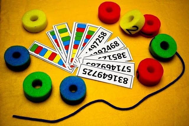 Pool Noodle Lacing & SequencingPool Noodles, Pools Noodles, Noodles Lace, Sequences Cards, Colors Pools, Bags Swap, Business Bags, Activities Bags, Preschool