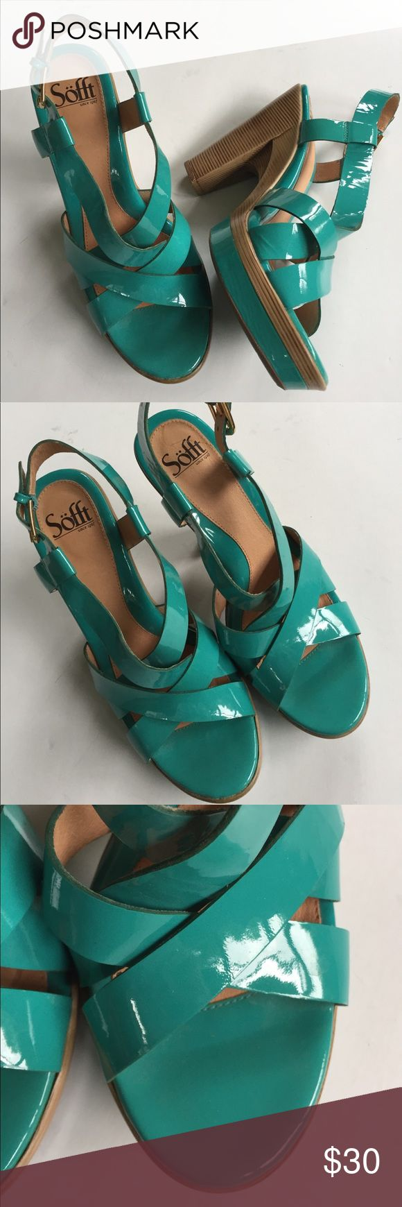 "EUC Sofft leather heels Excellent condition - worn just a couple of times; Beautiful turquoise patent leather strappy 5"" heels with 1"" platform; comfy padded footbed; small scuff mark as shown; SO pretty! Smoke-free/pet-free home. Sofft Shoes"