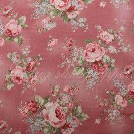 Tissu Lecien Fleurs Roses Fond Rose