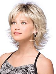 Synthetic Wig Natural Wave Style Bob Capless Wig Blonde Blonde Synthetic Hair Women's Dark Roots / Side Part Blonde Wig Short