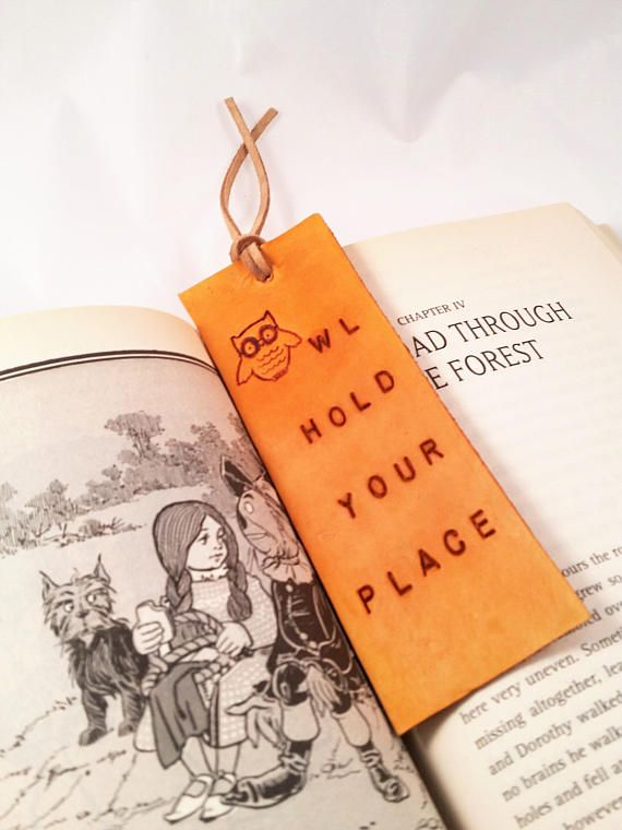 Hand stamped owl hold your place tan leather bookmark - book lover gift - school accessory - leather gift - book accessories - owl bookmark