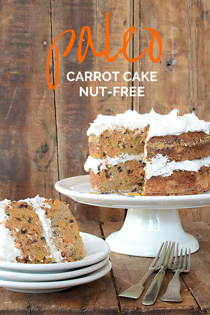 This Nut-Free Paleo Carrot Cake recipe is made with coconut flour. It's gluten-free and dairy-free. and could not be easier to throw together. We top it with with Coconut Whipped Cream to make a luscious dairy-free dessert that all of our friends can enjoy!