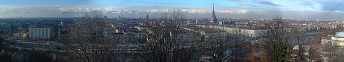 Turin, Italy (panoramic view of the centre of Turin from Monte dei Cappuccini, with the snowy Alps in the background)