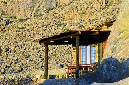 The terrace of a bungalow at Eagle's Nest Chalets.