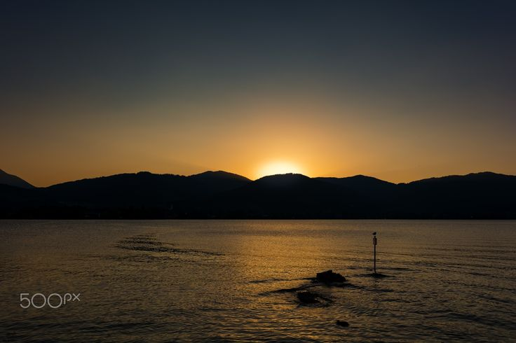 Just after the sunset on the Tegernsee shore - Calm and hot summer evening on Tegernsee shore