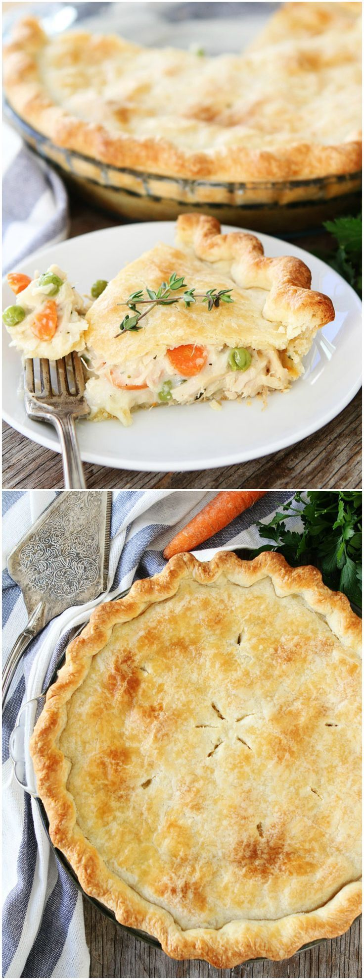 Chicken Pot Pie Recipe on http://twopeasandtheirpod.com This classic homemade chicken pot pie is the ultimate comfort food and it freezes well too!