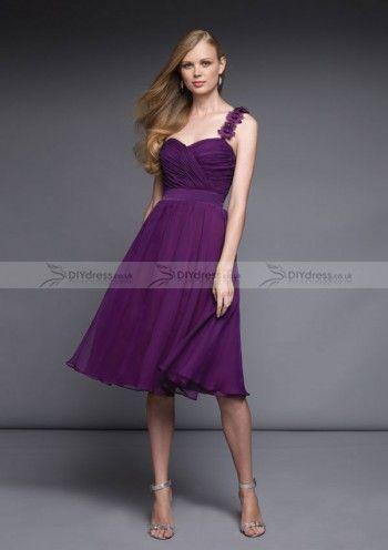 A-line One-shoulder Sweetheart-neck Knee-length Chiffon Bridesmaid Dresses