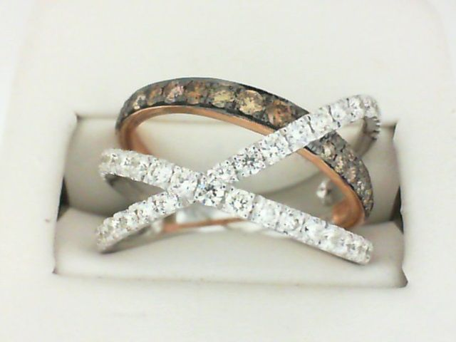 14k White and Rose Gold White and Espresso Diamond Ring 1.06dtw | Women's Diamond Fashion Rings from Reiniger Jewelers | Swansea, IL