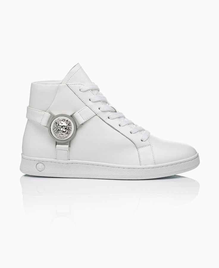 Versus Versace - Iconic Lion Head High Top Trainers - White - Shoes & Trainers - Womens