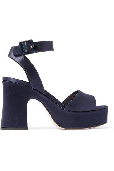 Miu Miu - Satin Platform Sandals - Midnight blue - IT38.5