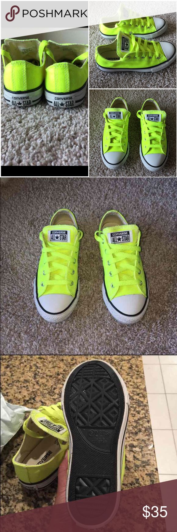 Converse neon yellow Worn two times. Super great condition! It's clean, well loved. Comes from a pet free and smoke free home. Converse Shoes