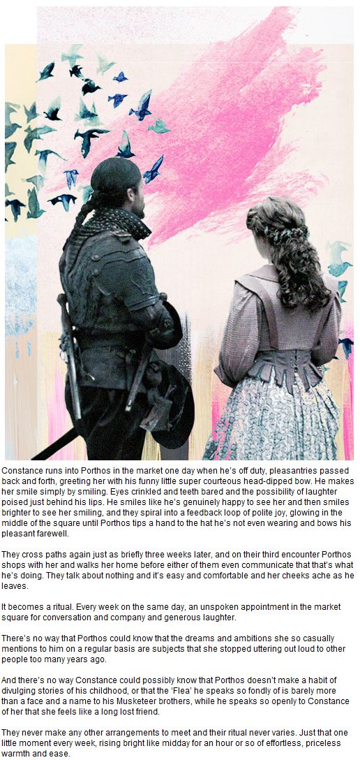 The Musketeers - Constance Appreciation Week :: Day five :: Favourite Headcanon; Porthos/Constance as accidental BFF's