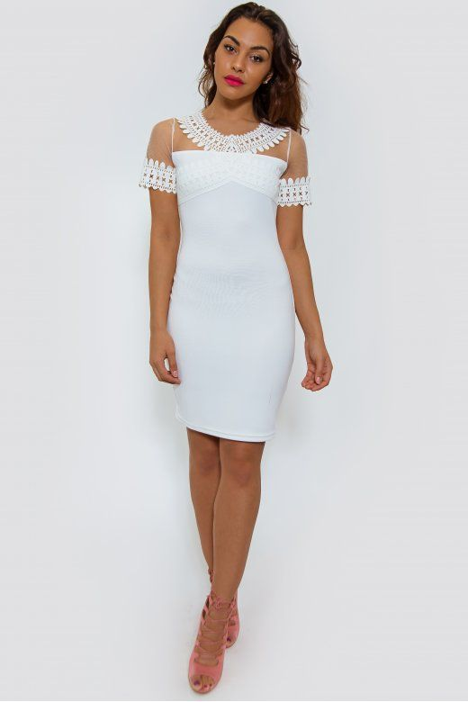 LUXE White Lace Bodycon Dress
