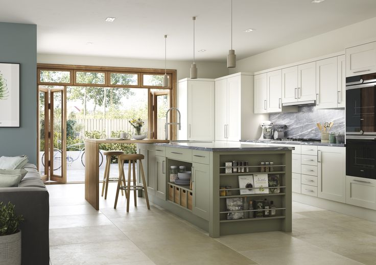 Thatcham Kitchens- Mereway Kitchens- Town & Country- Bridgwater- Dark Sage and Prosecco