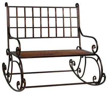 "Rocking Garden Bench 41"" Wide Metal Antique Brown by Winward Designs traditional-outdoor-rocking-chairs"