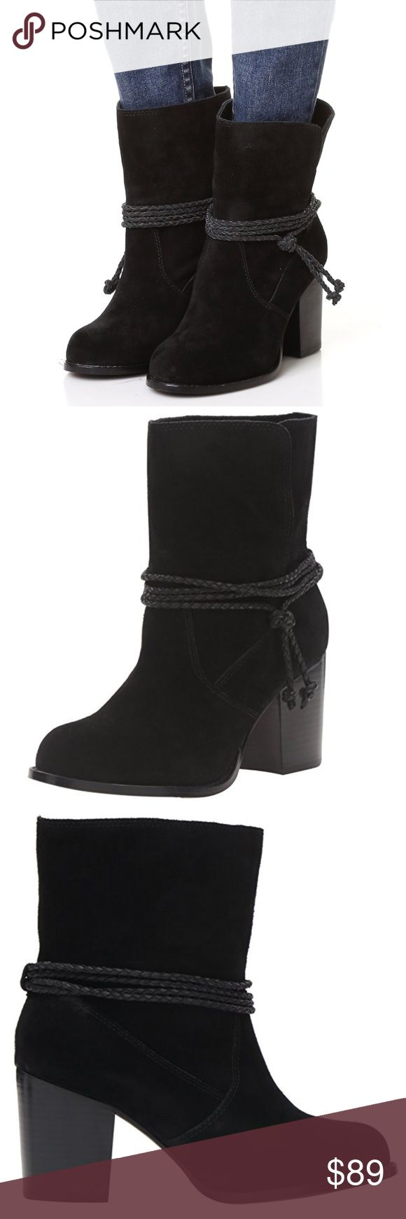 Wraparound Cowhide Slouch Boots Luxe suede Splendid booties styled with a braided wraparound strap at the split shaft. Stacked heel Leather: Cowhide. Black Measurements Heel: 2.75in / 70mm Splendid X Anthropologie Anthropologie Shoes Ankle Boots & Booties
