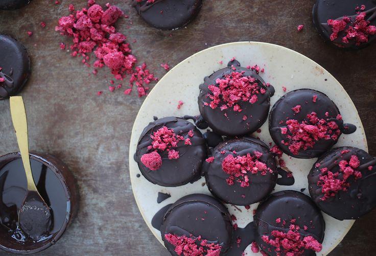 No Bake Raspberry Coconut & Dark Chocolate Cookies