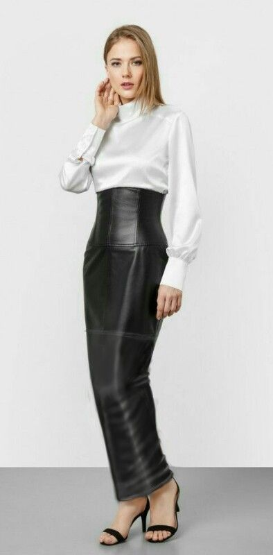 Leather High Waisted Hobble Skirt Feminized For The