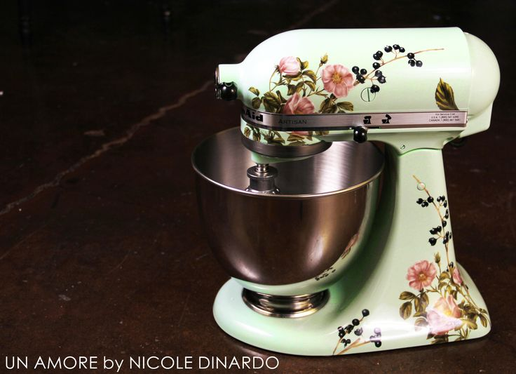 Sage floral and berries custom painted KitchenAid Mixer {Artisan Mixer Included} - Un Amore Custom Designs