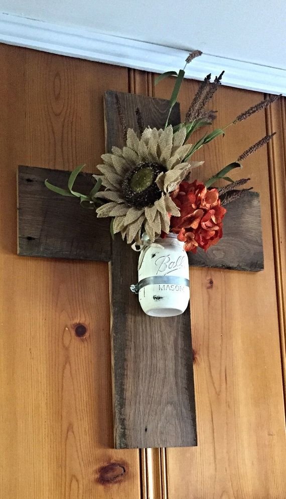 Wooden Cross Barnwood Cross Mason jar wall by TheDavidsonDesign