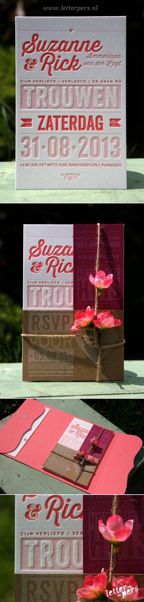 letterpers_letterpress_trouwkaart_Suzanne-en-Rick_roze_bloemen_pakketje_zomers_lief