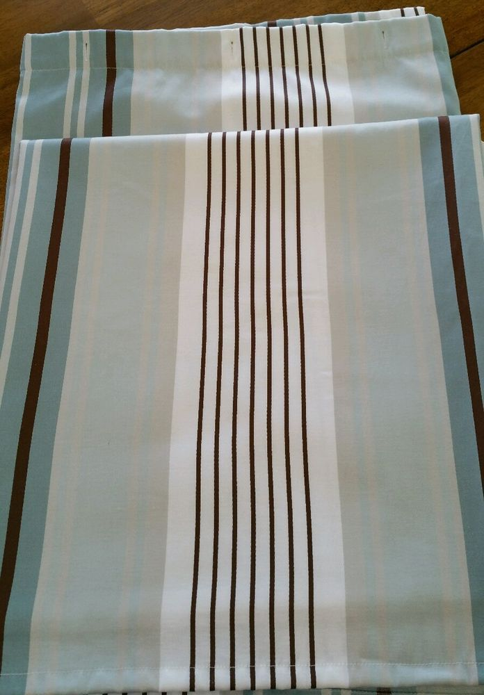 Fieldcrest Luxury Striped Shower Curtain White Blue Brown