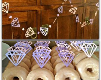20 Gold Diamond Donut or Cake Topper with by PaperTrailbyLauraB