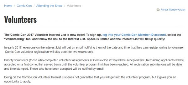 Time To Sign Up As A San Diego Comic Con 2017 Volunteer?