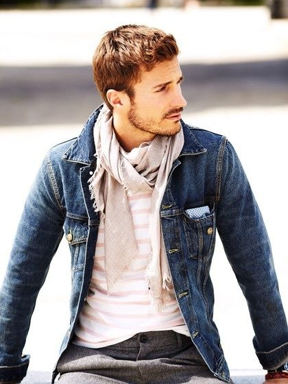 Shop this look for $166:  http://lookastic.com/men/looks/pocket-square-and-dress-pants-and-denim-jacket-and-scarf-and-crew-neck-t-shirt/1438  — White and Blue Gingham Pocket Square  — Grey Wool Dress Pants  — Navy Denim Jacket  — Grey Scarf  — White and Pink Horizontal Striped Crew-neck T-shirt