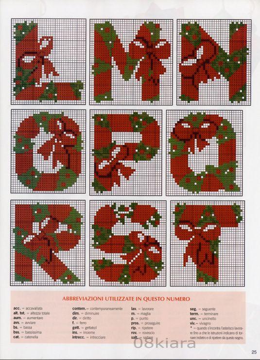 alphabet - noël - christmas - point de croix - cross stitch - Blog : http://broderiemimie44.canalblog.com/