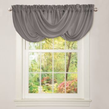 lend an elegant feel to any window fo your home with this gorgeous lucia grey window valance handcrafted of a silky brushed poly fabric this luxurious