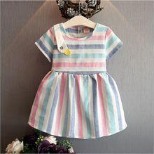 Корейский детская одежда 2017 лето новый цвет полосы моды платье девушки хлопка с короткими рукавами талии дрес(China (Mainland))