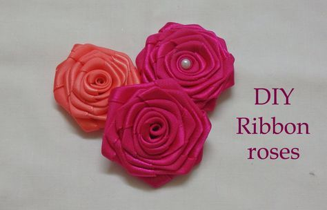 Diy ribbon roses, ribbon rosettes tutorial, how to make,flores de cinta